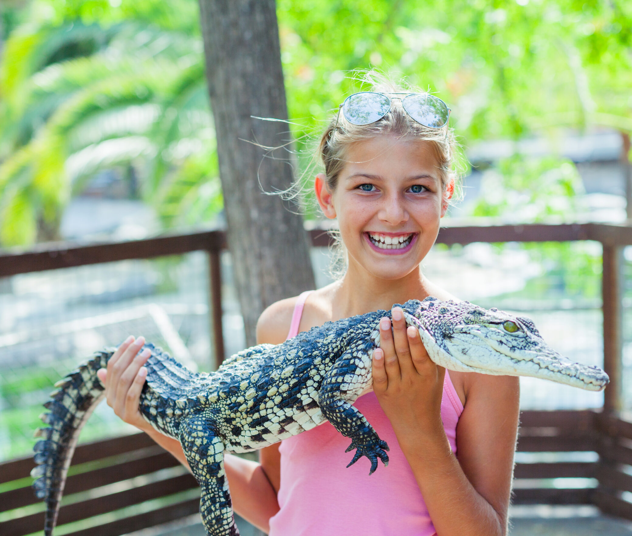 girl holding an alligator at coastal discovery museum